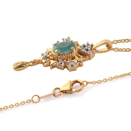 Grandidierite and Natural Cambodian Zircon Pendant with Chain (Size 18) in 14K Gold Overlay Sterling Silver 1.05 Ct, Silver wt. 5.18 Gms