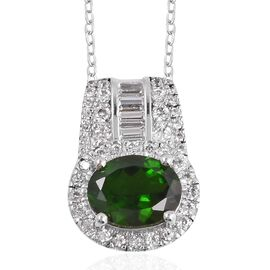 3.65 Ct Edition Russian Diopside and White Zircon Halo Pendant With Chain in Silver