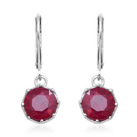5.76 Ct African Ruby Drop Earrings in Sterling Silver with Lever Back