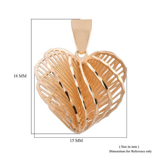 Royal Bali Collection - 9K Yellow Gold Heart Pendant