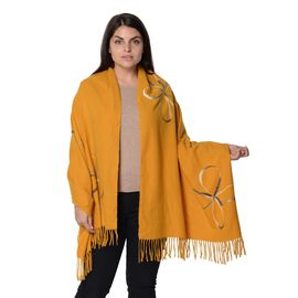 Floral Pattern Winter Scarf with Tassel (Size 70x180 Cm) - Yellow
