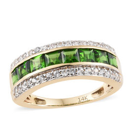 Close Out- 14K Yellow Gold AAA Russian Diopside (Princess Cut), Natural Cambodian Zircon Half Eternity Ring 1.750 Ct.