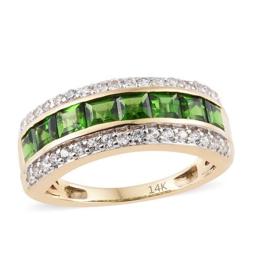1.75 Ct AAA Russian Diopside and Natural Cambodian Zircon Half Eternity Ring in 14K Gold