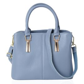 100% Genuine Leather Light Blue Colour Tote Bag with External Zipper Pocket and Removable Shoulder S