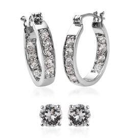 2 Piece Set - J Francis Crystal from Swarovski White Colour Crystal (Rnd) Hoop (with Clasp) and Stud
