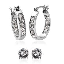 2 Pair Set - J Francis Crystal from Swarovski White Colour Crystal (Rnd) Hoop (with Clasp) and Stud