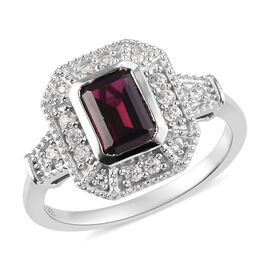 AA Rhodolite Garnet and Natural Cambodian Zircon Ring in Platinum Overlay Sterling Silver