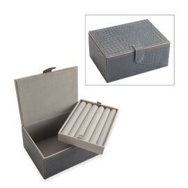 2-Tier Croc Embossed Leather Jewellery Storage Box with Magnetic Flap (Size 18x13x9 Cm) - Grey