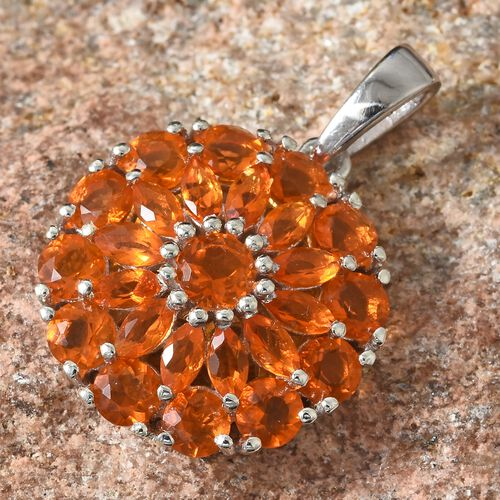WEBEX- Jalisco Fire Opal (Mrq) Cluster Pendant in Platinum Overlay Sterling Silver 2.250  Ct.