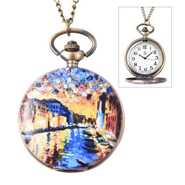STRADA Japanese Movement Ancient Water Town Pattern Water Resistant Pocket Watch with Chain (Size 31