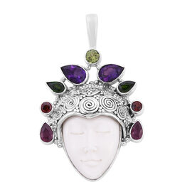 Sajen Silver - Craved Ox-Bone, Pink Amethyst, African Ruby, Peridot and Multi Gemstone Face Pendant
