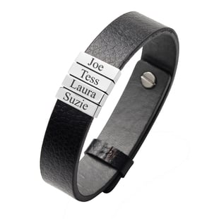 Personalised Engravable 4 Charm PU Leather and Stainless Steel Bracelet,10 inches