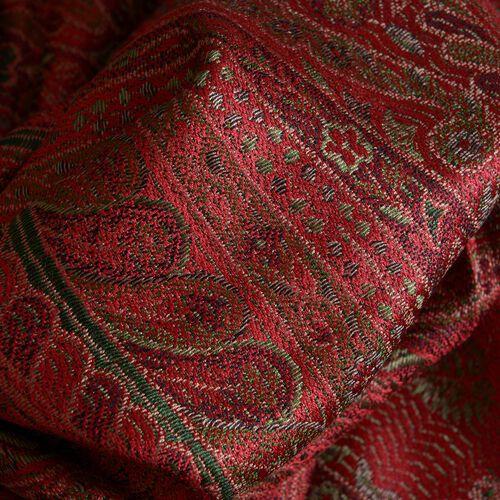 SILK MARK - 100% Superfine Silk Burgundy and Multi Colour Jacquard Jamawar Scarf with Tassels (Size 180x70 Cm)