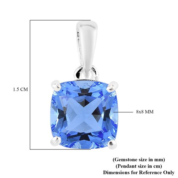 Blue Helenite Pendant in Sterling Silver 1.75 Ct.