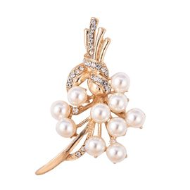 Simulated Pearl and White Austrian Crystal Brooch in Gold Tone