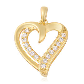 ELANZA Simulated Diamond Heart Pendant in Yellow Gold Plated Sterling Silver