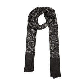 100% Cashmere Wool Seamless Floral Pattern Scarf (Size 70x200 Cm) - Black