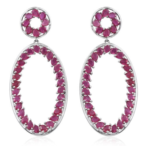 African Ruby (Pear) Earrings (with Push Back) in Platinum Overlay Sterling Silver 15.500 Ct. Silver wt 9.80 Gms.