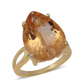 14.63 Ct Citrine Solitaire Ring in Gold Plated Sterling Silver 4.81 Grams