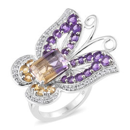 AA  Anahi Ametrine (Oct), Amethyst, Citrine and Multi Gemstone Butterfly Ring in Platinum Overlay Sterling Silver 6.250 Ct, Silver wt 8.18 Gms