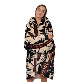 Tribal Pattern Flannel Blanket Hooded Sweatshirt (Size 85x90cm) with Long Sleeves - Black, Cream and