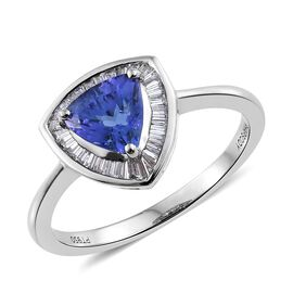 RHAPSODY 950 Platinum AAAA Tanzanite (Trl 1.35 Ct), Diamond (VS/F) Ring 1.650 Ct.Platinum Wt 5.01 Gm