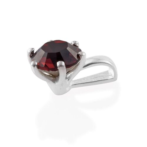J Francis Crystal from Swarovski - Burgundy Colour Crystal (Rnd) Solitaire Pendant and Stud Earrings (with Push Back) in Sterling Silver