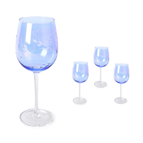 Set of 4 - Wine Glasses with Carved Leaf Design in Light Blue Colour with Mother of Pearl Effect
