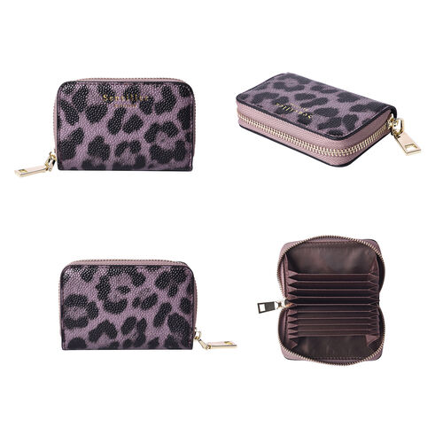 Sencillez 100% Genuine Leather RFID Protected Leopard Pattern 11 Slots Card Holder Wallet (Size 12x2x8 Cm) - Purple