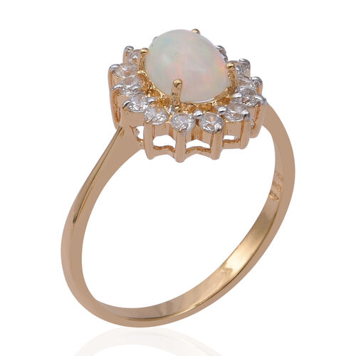 Ethiopian Welo Opal (Ovl 8x6mm) and Natural Cambodian Zircon Ring in Yellow Gold Overlay Sterling Silver 1.550 Ct.