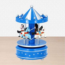 Stocking Filler- Handcrafted Merry-Go-Round Carousel with Wooden Horses Music Box (Size 11x18cm) - B