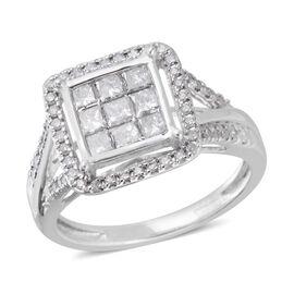 1 Carat Diamond Cluster Ring in 9K White Gold 3.2 Grams I3 GH