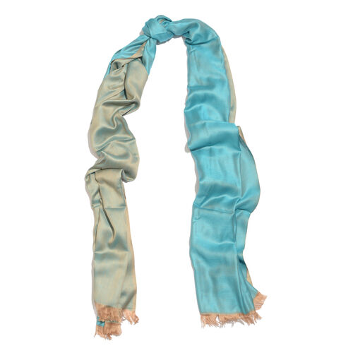 Blue and Bronze Colour Reversible Scarf with Fringes (Size 200X70 Cm)