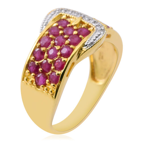 Burmese Ruby (Rnd), Natural White Cambodian Zircon Buckle Ring in 14K Gold Overlay Sterling Silver 2.250 Ct. Silver wt 4.50 Gms.