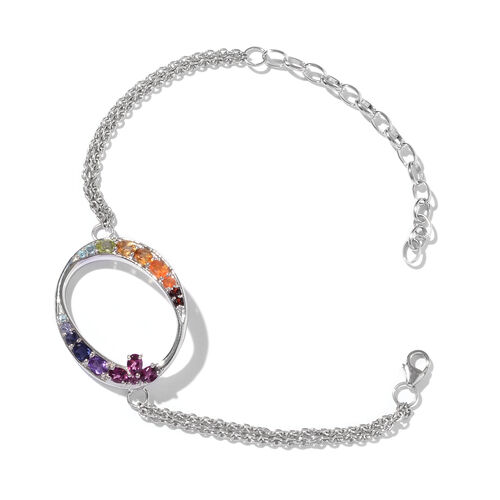 Paraiba Apatite (Ovl), Hebei Peridot, Mozambique Garnet, Amethyst, Citrine and Multi Gemstone Initial O Bracelet (Size 9 with Extender) in Platinum Overlay Sterling Silver 6.552 Ct.
