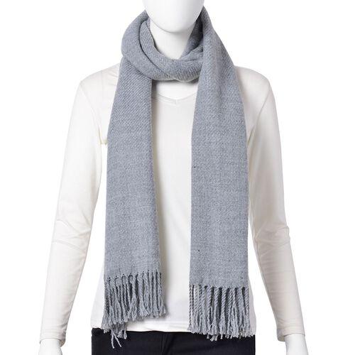 Italian Designer Grey Colour Stripes Pattern Scarf with Tassels (Size 180x60 Cm)