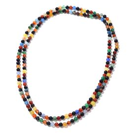 Hong Kong Endless Collection- Multi Agate (Rnd) Enhanced Necklace (Size 60) 703.500 Ct.