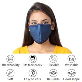 6 Layer Heart Pattern Reusable Face Covering (One Size) - Navy