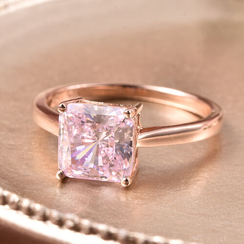 ELANZA Simulated Pink Sapphire Solitaire Ring in Rose Gold Overlay Sterling Silver