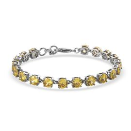 Super Find- Simulated Yellow Sapphire Line Bracelet (Size 7.5) in Platinum Tone