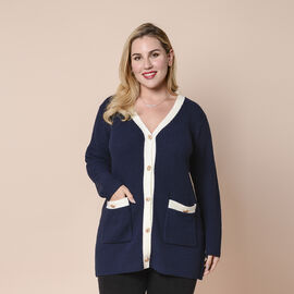 LA MAREY Navy Contrast Cardigan with Golden Buttons
