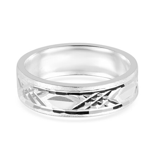 Sterling Silver Diamond Cut Band Ring, Silver wt 3.00 Gms