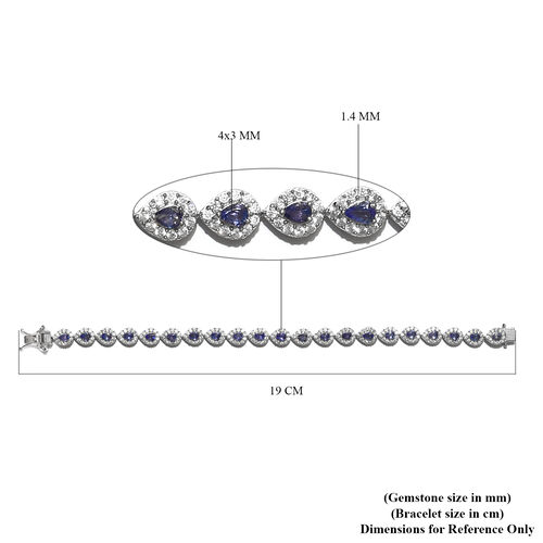 AAA Tanzanite and Natural Cambodian Zircon Bracelet (Size 7.5) in Platinum Overlay Sterling Silver 8.00 Ct, Silver wt. 14.74 Gms