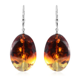 Bi- Colour Champagne Baltic Amber HALF Moon Shape Lever Back Earrings in Sterling Silver