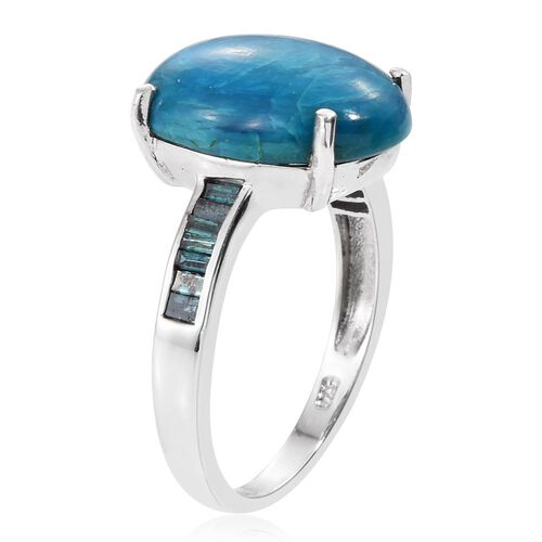 Natural Rare Opalina (Ovl 7.20 Ct), Blue Diamond Ring in Platinum Overlay Sterling Silver 7.500 Ct.