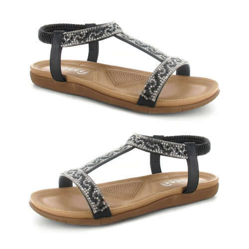 OLLY Mags Cushioned Toe Post Sandal (Size 3) - Black