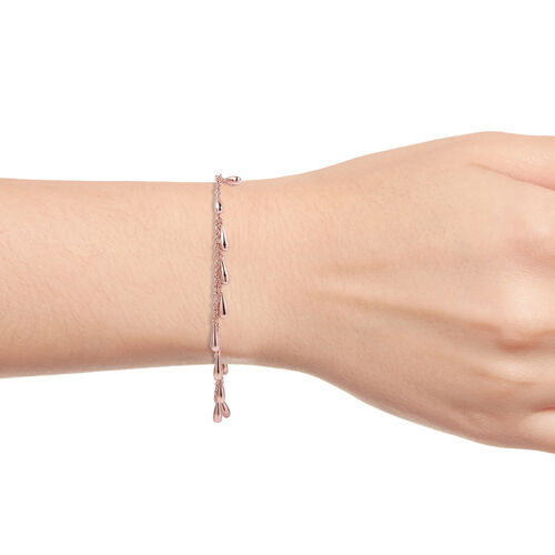 LucyQ - Multi Drip Bracelet (Size 7/7.5/8) in Rose Gold Overlay Sterling Silver, Silver wt 9.92 Gms