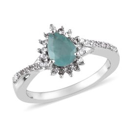 1.07 Ct Grandidierite and Zircon Halo Ring in Platinum Plated Silver