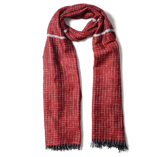 Dark Red Colour Scarf with Small Chequer Pattern (Size 180x68 Cm)