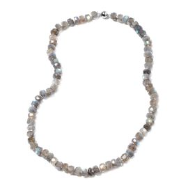 Extremely Rare Malgache Labradorite Necklace (Size 20) in Rhodium Overlay Sterling Silver 232.00 Ct.